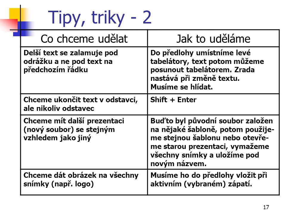 17 Tipy, triky - 2 Co chceme udělatJak to uděláme Delší text se zalamuje pod odrážku a ne pod text na předchozím řádku Do předlohy umístníme levé tabe