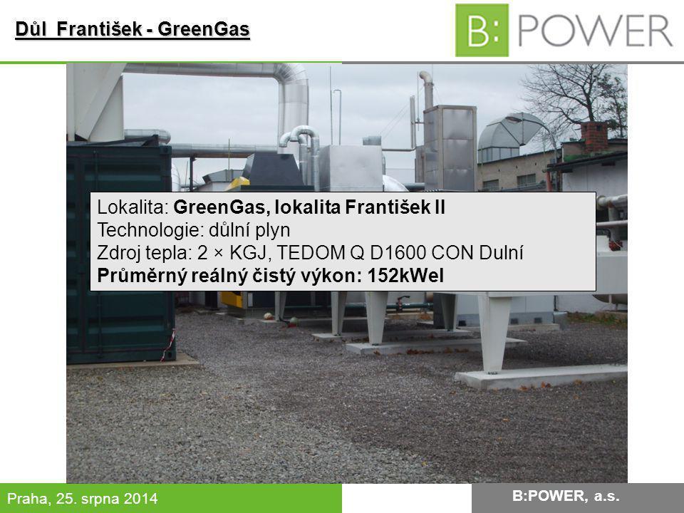 B:POWER INVESTMENT, a.s. Praha, 25. srpna 2014 Důl František - GreenGas Lokalita: GreenGas, lokalita František II Technologie: důlní plyn Zdroj tepla: