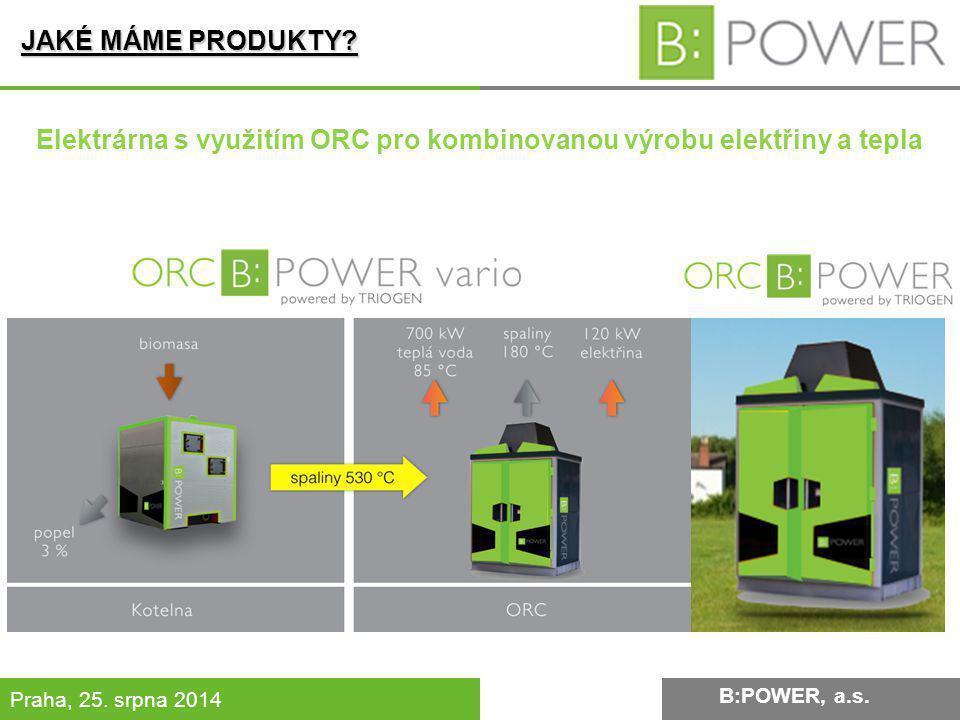 B:POWER INVESTMENT, a.s. Praha, 25. srpna 2014 JAKÉ MÁME PRODUKTY? B:POWER, a.s. Elektrárna s využitím ORC pro kombinovanou výrobu elektřiny a tepla