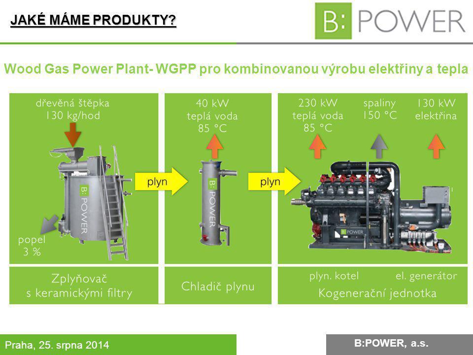 B:POWER INVESTMENT, a.s. Praha, 25. srpna 2014 JAKÉ MÁME PRODUKTY? B:POWER, a.s. Wood Gas Power Plant- WGPP pro kombinovanou výrobu elektřiny a tepla