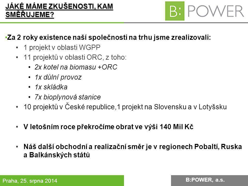 B:POWER INVESTMENT, a.s.Praha, 25. srpna 2014 JÁKÉ MÁME ZKUŠENOSTI, KAM SMĚŘUJEME.