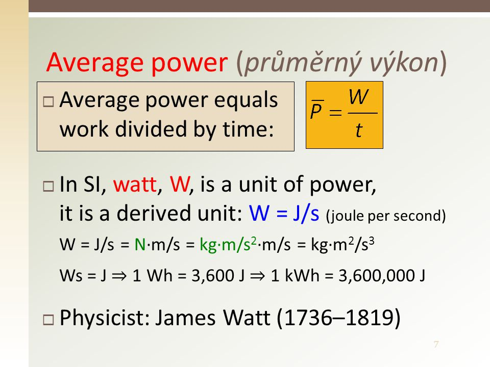 8 Instantaneous power P  Instantaneous power is defined as the average power in a very short time interval (in an instant)  If a work is being done uniformly , the instantaneous power = the average power