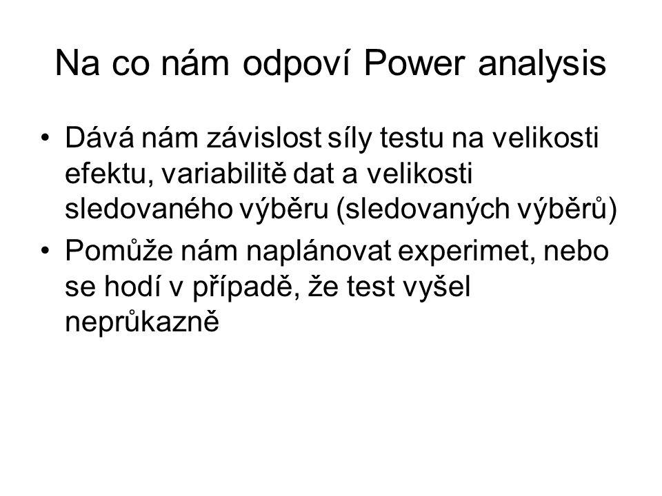 Na co nám odpoví Power analysis Dává nám závislost síly testu na velikosti efektu, variabilitě dat a velikosti sledovaného výběru (sledovaných výběrů)