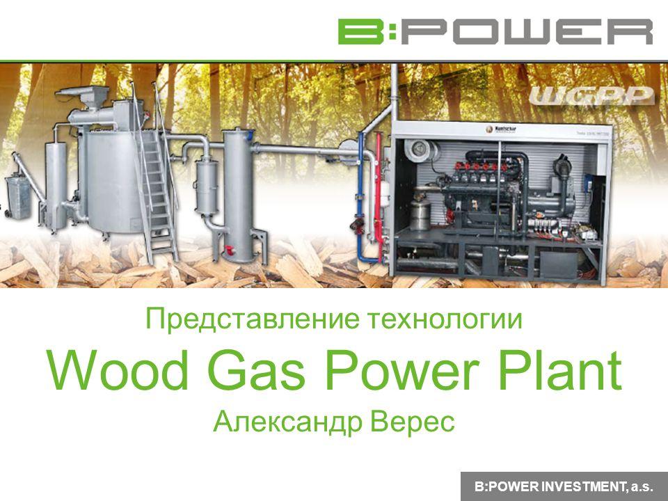 B:POWER INVESTMENT, a.s. Представление технологии Wood Gas Power Plant Александр Верес