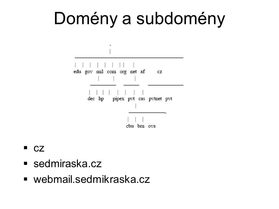 Domény a subdomény  cz  sedmiraska.cz  webmail.sedmikraska.cz