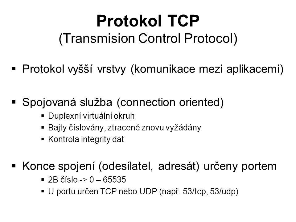 Protokol TCP (Transmision Control Protocol)  Protokol vyšší vrstvy (komunikace mezi aplikacemi)  Spojovaná služba (connection oriented)  Duplexní v