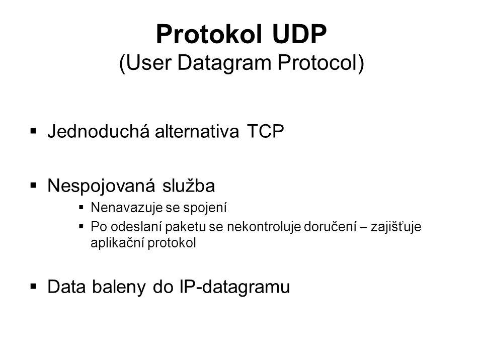 Protokol UDP (User Datagram Protocol)  Jednoduchá alternativa TCP  Nespojovaná služba  Nenavazuje se spojení  Po odeslaní paketu se nekontroluje d