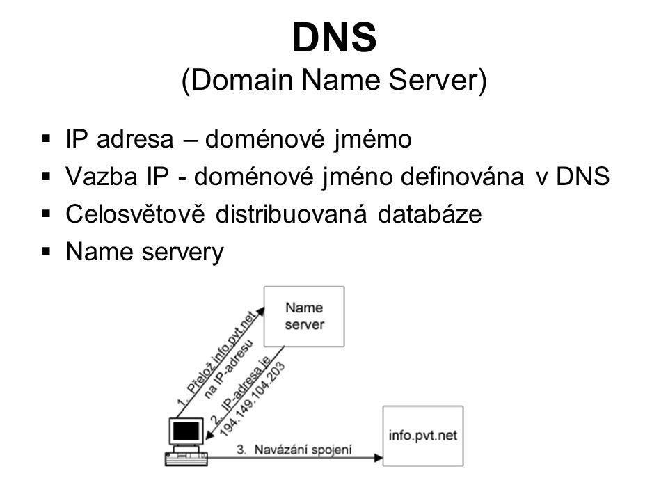 DNS (Domain Name Server)  IP adresa – doménové jmémo  Vazba IP - doménové jméno definována v DNS  Celosvětově distribuovaná databáze  Name servery