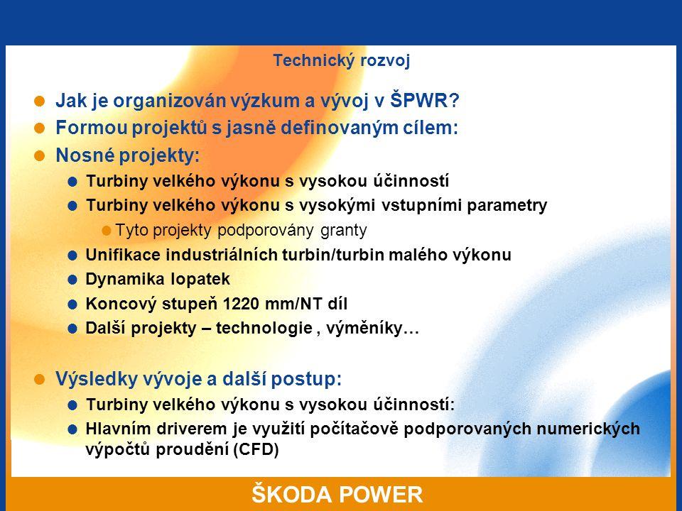 ŠKODA POWER Technický rozvoj  Jak je organizován výzkum a vývoj v ŠPWR?  Formou projektů s jasně definovaným cílem:  Nosné projekty:  Turbiny velk
