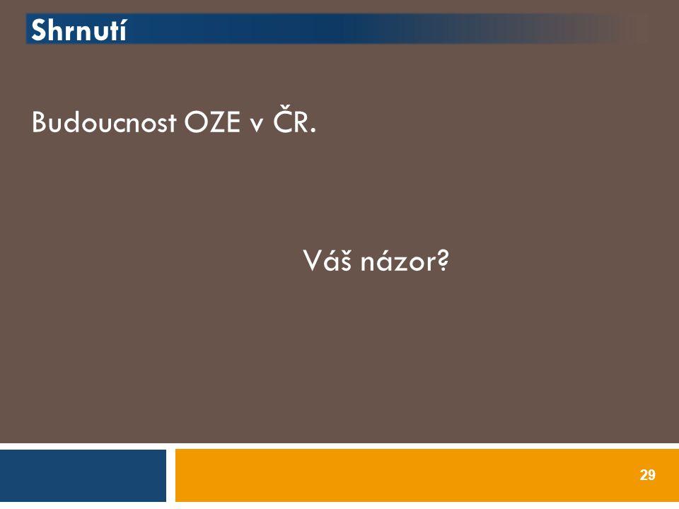 Shrnutí Budoucnost OZE v ČR. Váš názor? 29