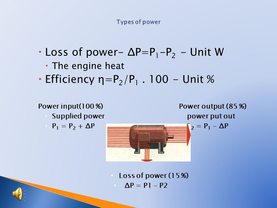  Power output P – common name  Power appliances P 1 – power output, which the appliance consumes – the motor voltage and current  Power output appliances P 2 – power output, which the appliance puts out – the motor speed and torque Power input(100 %) Power output (85 %)  Supplied power power put out  P 1 = P 2 + ΔP P 2 = P 1 - ΔP