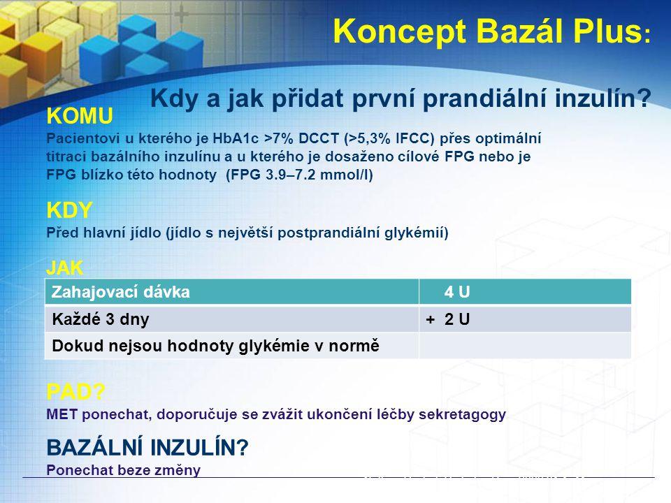 Koncept Bazál Plus : Kdy a jak přidat první prandiální inzulín.