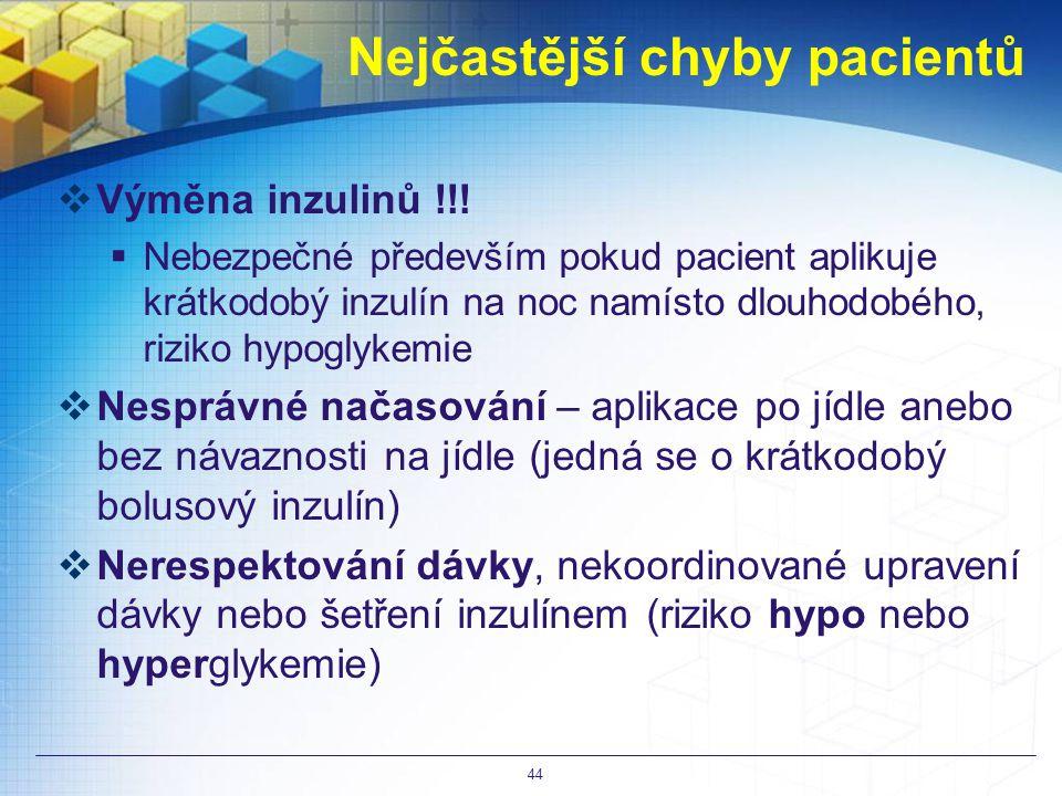Nejčastější chyby pacientů  Výměna inzulinů !!.