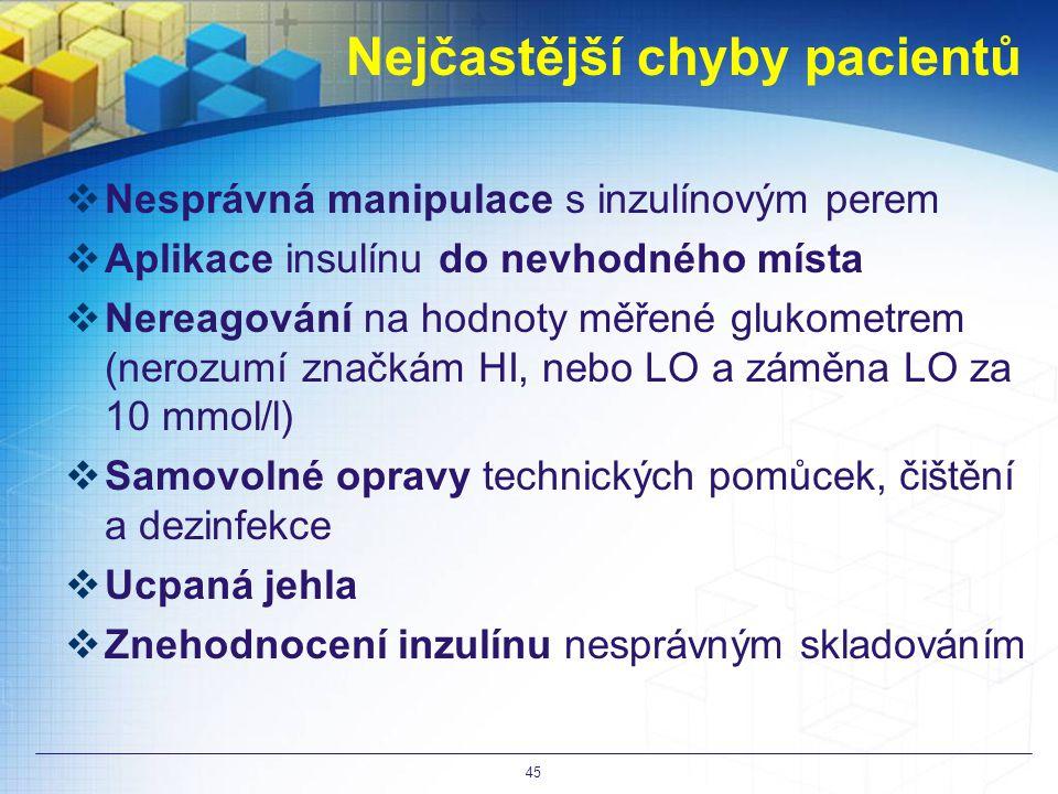 Nejčastější chyby pacientů  Nesprávná manipulace s inzulínovým perem  Aplikace insulínu do nevhodného místa  Nereagování na hodnoty měřené glukometrem (nerozumí značkám HI, nebo LO a záměna LO za 10 mmol/l)  Samovolné opravy technických pomůcek, čištění a dezinfekce  Ucpaná jehla  Znehodnocení inzulínu nesprávným skladováním 45