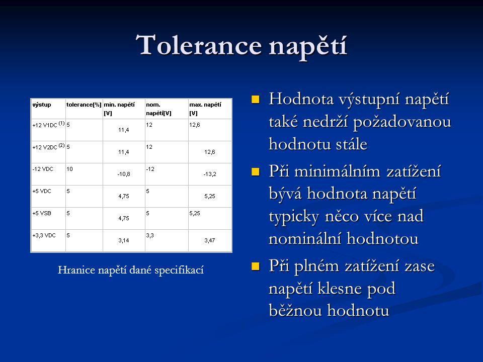 Tolerance napětí Hodnota výstupní napětí také nedrží požadovanou hodnotu stále Při minimálním zatížení bývá hodnota napětí typicky něco více nad nomin