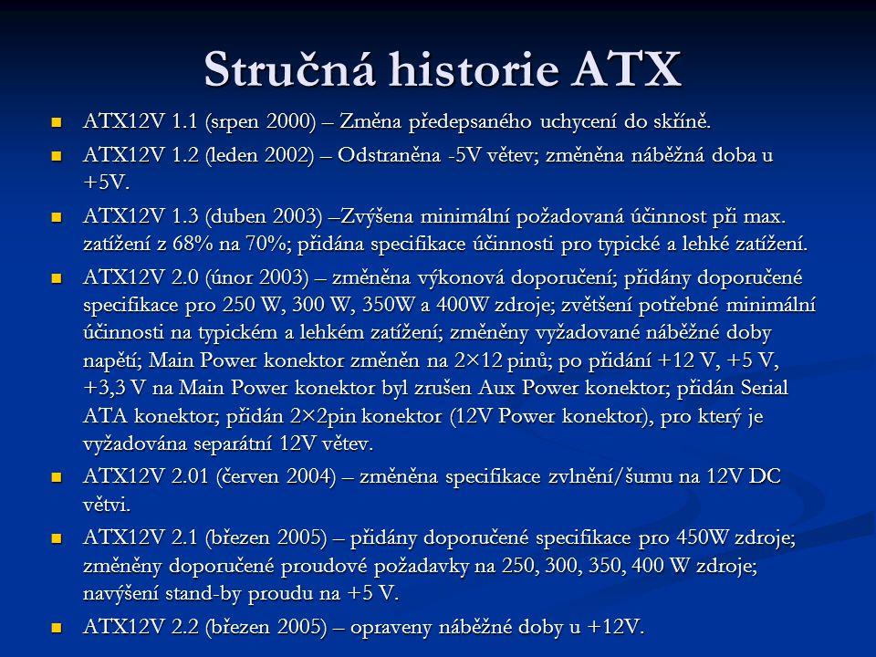 Stručná historie ATX ATX12V 1.1 (srpen 2000) – Změna předepsaného uchycení do skříně. ATX12V 1.1 (srpen 2000) – Změna předepsaného uchycení do skříně.