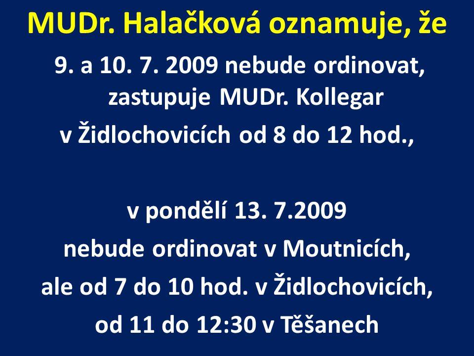 MUDr. Halačková oznamuje, že 9. a 10. 7. 2009 nebude ordinovat, zastupuje MUDr.