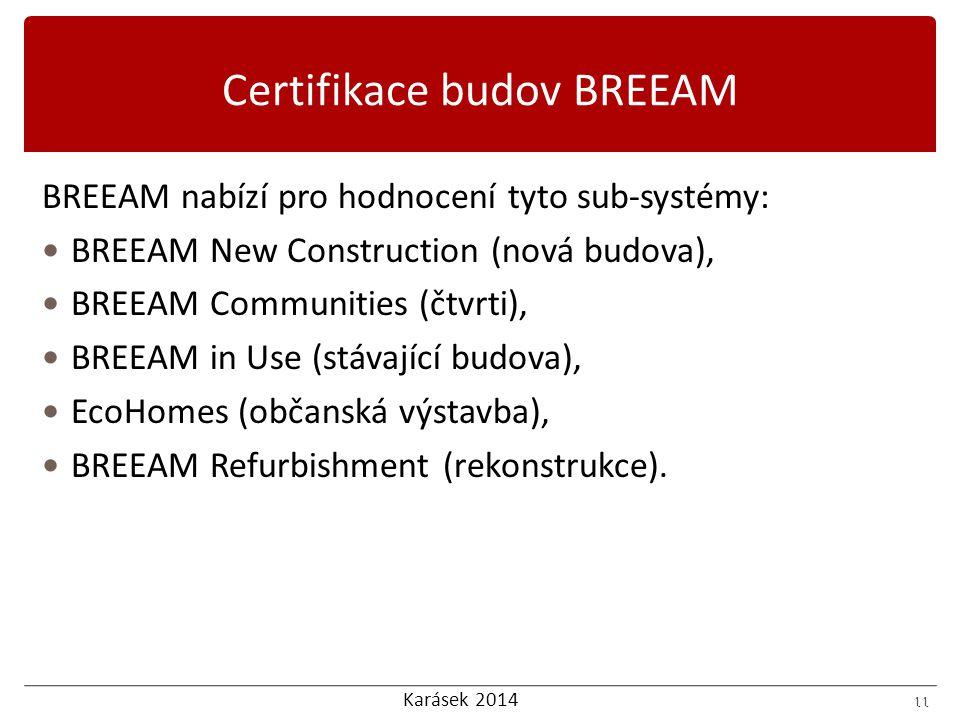 Karásek 2014 11 BREEAM nabízí pro hodnocení tyto sub-systémy: BREEAM New Construction (nová budova), BREEAM Communities (čtvrti), BREEAM in Use (stávající budova), EcoHomes (občanská výstavba), BREEAM Refurbishment (rekonstrukce).