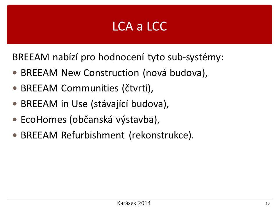 Karásek 2014 12 BREEAM nabízí pro hodnocení tyto sub-systémy: BREEAM New Construction (nová budova), BREEAM Communities (čtvrti), BREEAM in Use (stávající budova), EcoHomes (občanská výstavba), BREEAM Refurbishment (rekonstrukce).