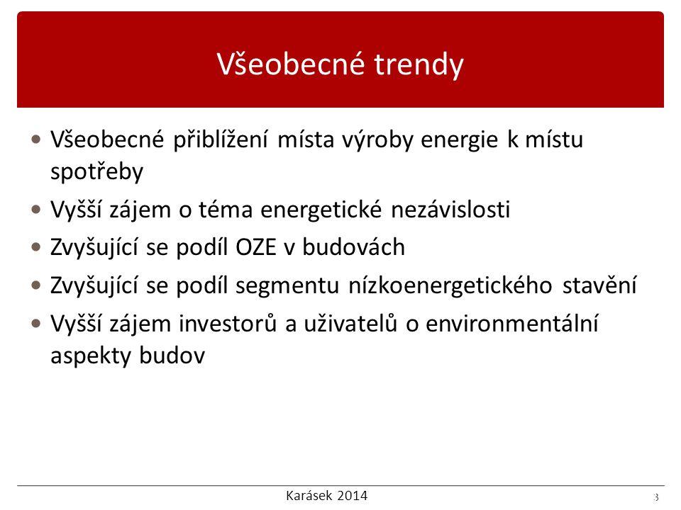 Karásek 2014 3 Všeobecné přiblížení místa výroby energie k místu spotřeby Vyšší zájem o téma energetické nezávislosti Zvyšující se podíl OZE v budovách Zvyšující se podíl segmentu nízkoenergetického stavění Vyšší zájem investorů a uživatelů o environmentální aspekty budov 3 Všeobecné trendy