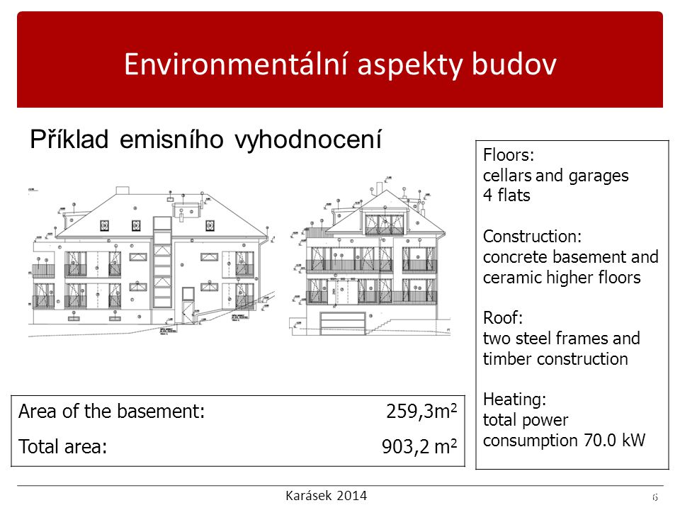 Karásek 2014 7 Příklad emisního vyhodnocení Ecoquantum 7 Environmentální aspekty budov
