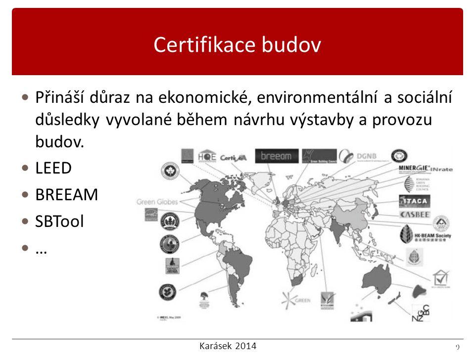Karásek 2014 10 LEED nabízí následující hodnotící kritéria: 10 Certifikace budov LEED
