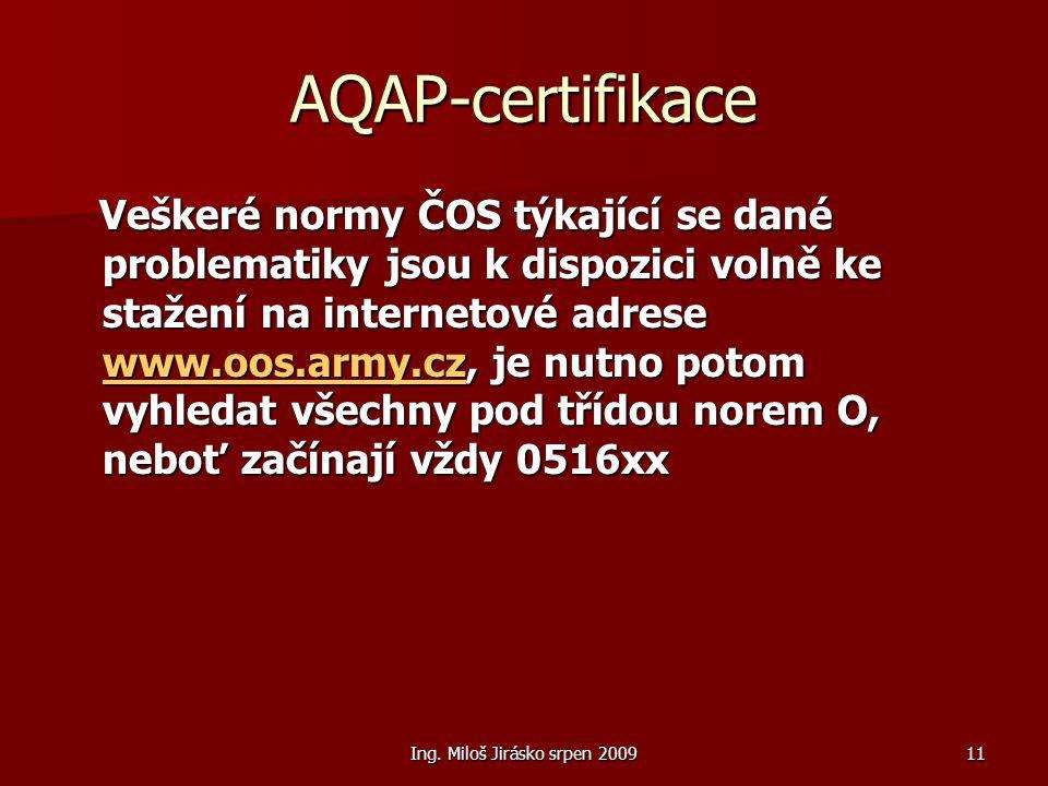 Ing. Miloš Jirásko srpen 200911 AQAP-certifikace Veškeré normy ČOS týkající se dané problematiky jsou k dispozici volně ke stažení na internetové adre