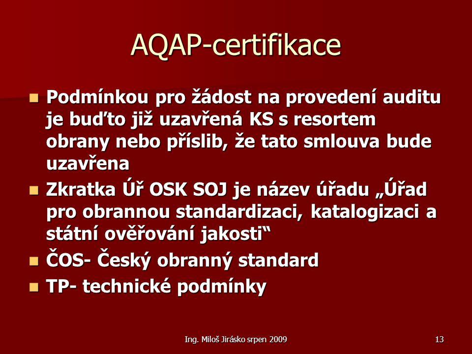 Ing. Miloš Jirásko srpen 200913 AQAP-certifikace Podmínkou pro žádost na provedení auditu je buďto již uzavřená KS s resortem obrany nebo příslib, že