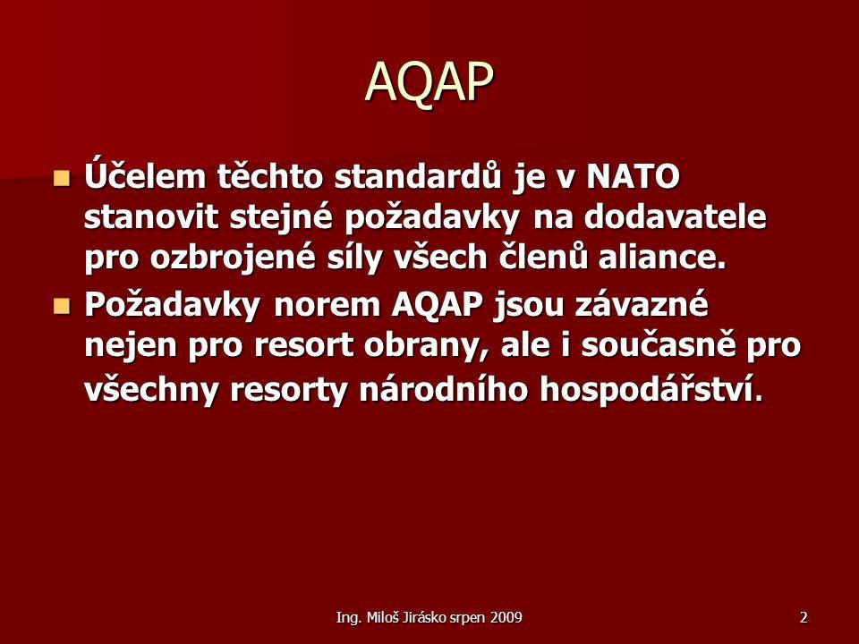 Ing. Miloš Jirásko srpen 20092 AQAP Účelem těchto standardů je v NATO stanovit stejné požadavky na dodavatele pro ozbrojené síly všech členů aliance.