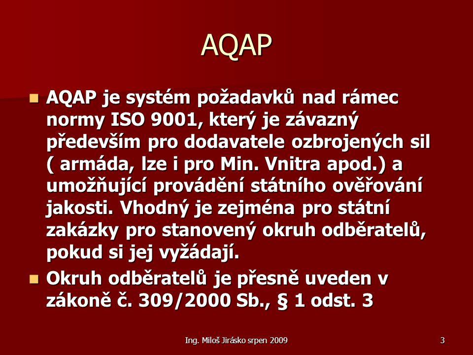Ing. Miloš Jirásko srpen 20093 AQAP AQAP je systém požadavků nad rámec normy ISO 9001, který je závazný především pro dodavatele ozbrojených sil ( arm