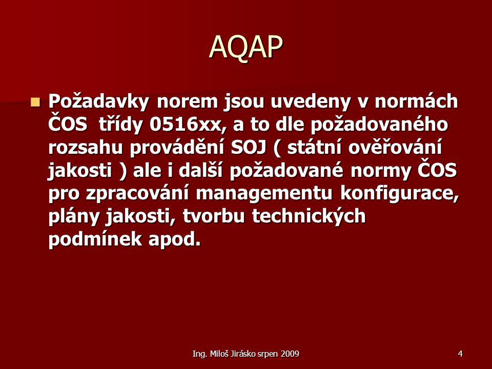 Ing. Miloš Jirásko srpen 20094 AQAP Požadavky norem jsou uvedeny v normách ČOS třídy 0516xx, a to dle požadovaného rozsahu provádění SOJ ( státní ověř