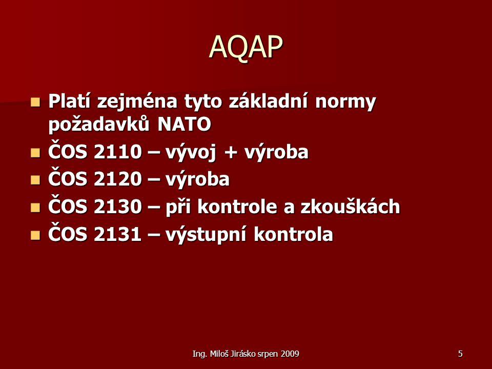Ing. Miloš Jirásko srpen 20095 AQAP Platí zejména tyto základní normy požadavků NATO Platí zejména tyto základní normy požadavků NATO ČOS 2110 – vývoj