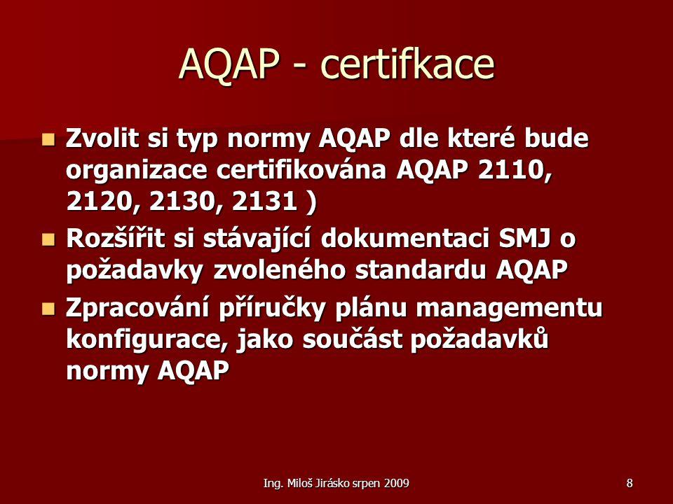 Ing. Miloš Jirásko srpen 20098 AQAP - certifkace Zvolit si typ normy AQAP dle které bude organizace certifikována AQAP 2110, 2120, 2130, 2131 ) Zvolit