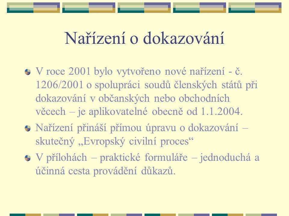 Nařízení o dokazování V roce 2001 bylo vytvořeno nové nařízení - č. 1206/2001 o spolupráci soudů členských států při dokazování v občanských nebo obch