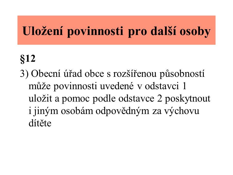 Uložení povinnosti pro další osoby §12 3) Obecní úřad obce s rozšířenou působností může povinnosti uvedené v odstavci 1 uložit a pomoc podle odstavce