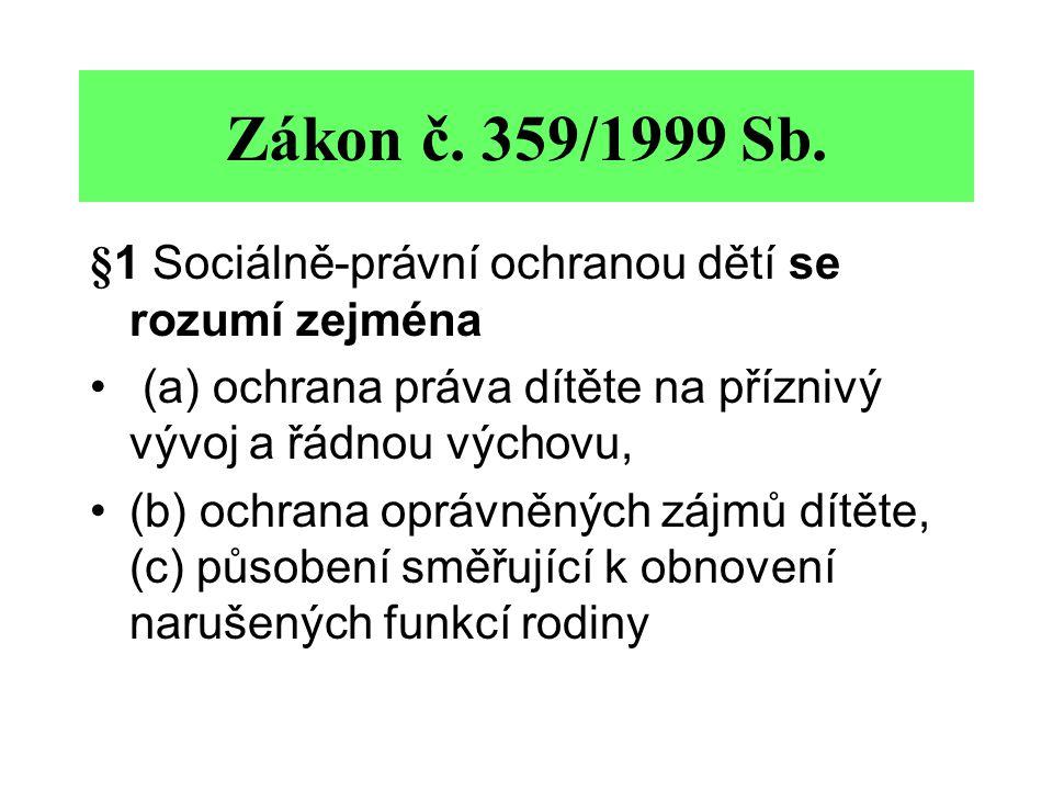 Zákon č. 359/1999 Sb. §1 Sociálně-právní ochranou dětí se rozumí zejména (a) ochrana práva dítěte na příznivý vývoj a řádnou výchovu, (b) ochrana oprá