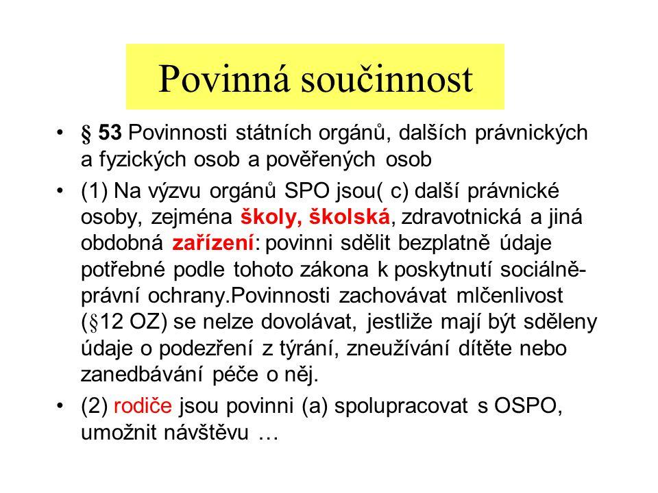 § 53 Povinnosti státních orgánů, dalších právnických a fyzických osob a pověřených osob (1) Na výzvu orgánů SPO jsou( c) další právnické osoby, zejmén