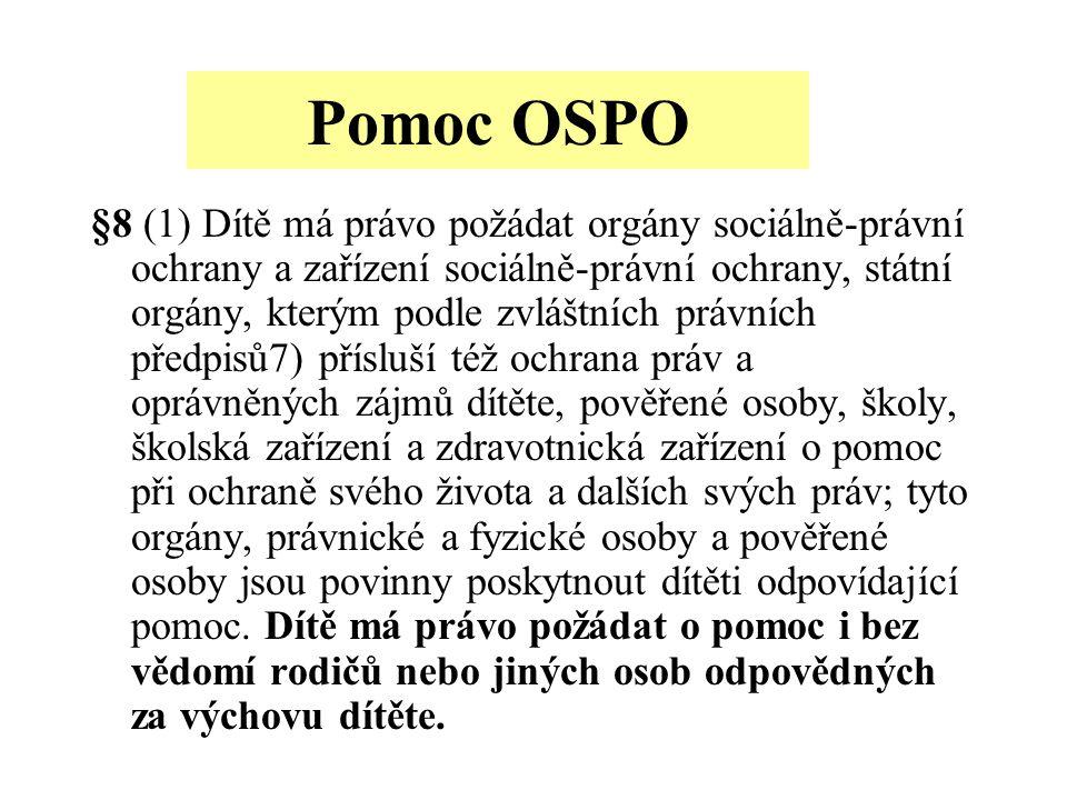 Pomoc OSPO §8 (1) Dítě má právo požádat orgány sociálně-právní ochrany a zařízení sociálně-právní ochrany, státní orgány, kterým podle zvláštních práv