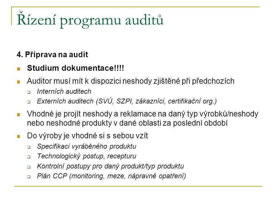 Řízení programu auditů 4.Příprava na audit Studium dokumentace!!!.