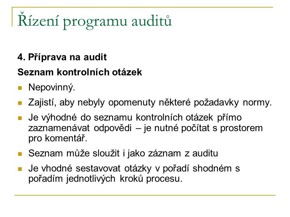 Řízení programu auditů 4.Příprava na audit Seznam kontrolních otázek Nepovinný.