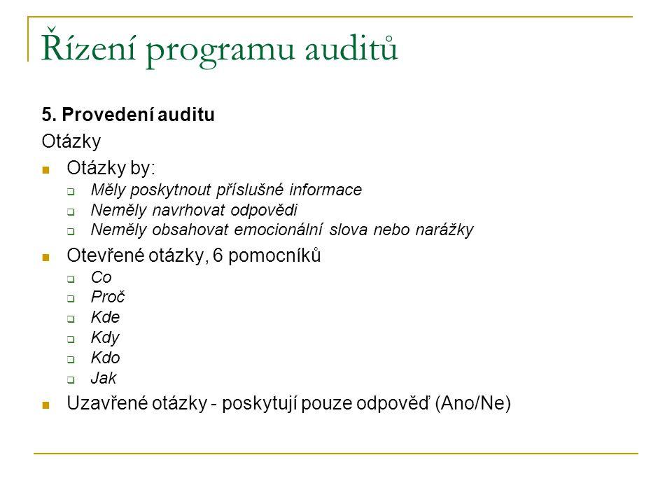 Řízení programu auditů 5.