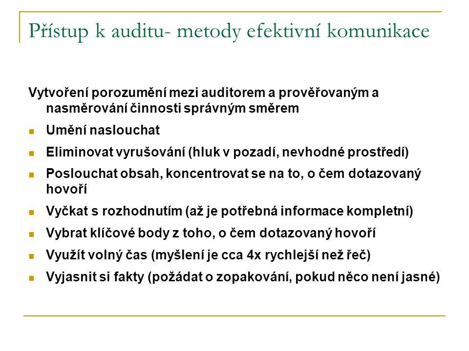 Přístup k auditu- metody efektivní komunikace Vytvoření porozumění mezi auditorem a prověřovaným a nasměrování činnosti správným směrem Umění naslouchat Eliminovat vyrušování (hluk v pozadí, nevhodné prostředí) Poslouchat obsah, koncentrovat se na to, o čem dotazovaný hovoří Vyčkat s rozhodnutím (až je potřebná informace kompletní) Vybrat klíčové body z toho, o čem dotazovaný hovoří Využít volný čas (myšlení je cca 4x rychlejší než řeč) Vyjasnit si fakty (požádat o zopakování, pokud něco není jasné)