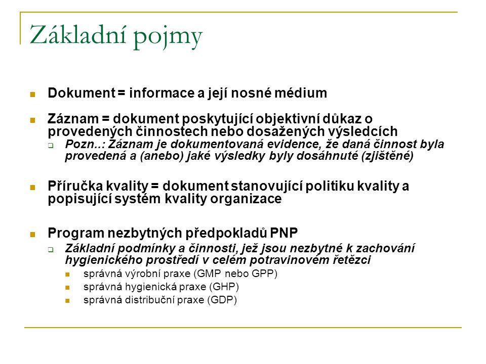 Základní pojmy Dokument = informace a její nosné médium Záznam = dokument poskytující objektivní důkaz o provedených činnostech nebo dosažených výsledcích  Pozn..: Záznam je dokumentovaná evidence, že daná činnost byla provedená a (anebo) jaké výsledky byly dosáhnuté (zjištěné) Příručka kvality = dokument stanovující politiku kvality a popisující systém kvality organizace Program nezbytných předpokladů PNP  Základní podmínky a činnosti, jež jsou nezbytné k zachování hygienického prostředí v celém potravinovém řetězci správná výrobní praxe (GMP nebo GPP) správná hygienická praxe (GHP) správná distribuční praxe (GDP)