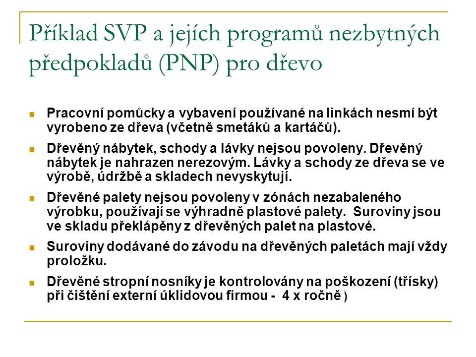 Příklad SVP a jejích programů nezbytných předpokladů (PNP) pro dřevo Pracovní pomůcky a vybavení používané na linkách nesmí být vyrobeno ze dřeva (včetně smetáků a kartáčů).