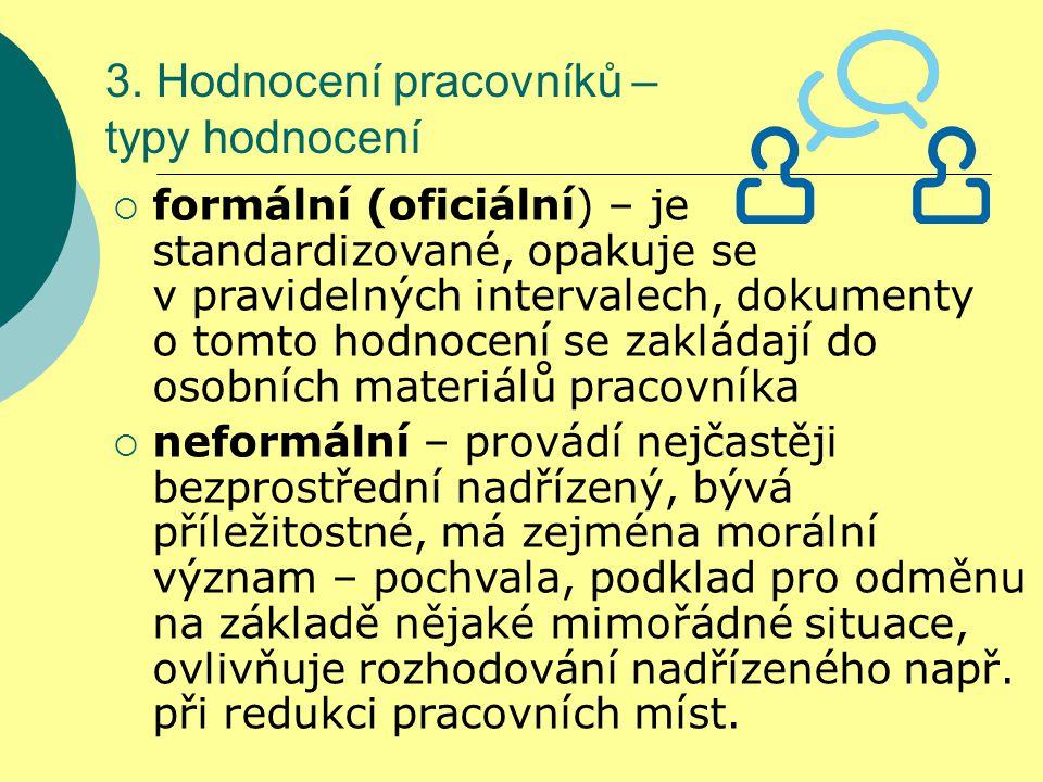 3. Hodnocení pracovníků – typy hodnocení  formální (oficiální) – je standardizované, opakuje se v pravidelných intervalech, dokumenty o tomto hodnoce