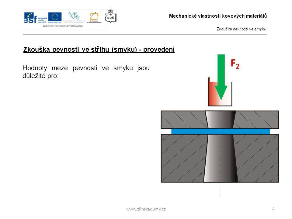 www.zlinskedumy.cz Zkouška pevnosti ve střihu (smyku) - provedení 4 F2F2 Hodnoty meze pevnosti ve smyku jsou důležité pro: b)Polotovary - plechy, ze k