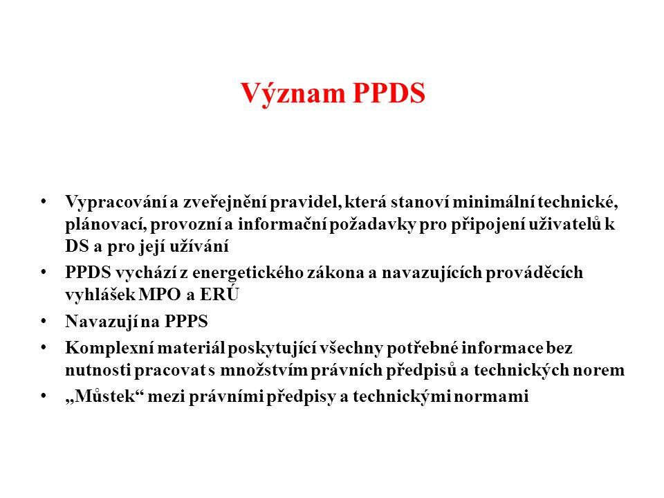 Obsah PPDS pro rok 2014 Úvod 1.Názvosloví 2.Všeobecné podmínky pro užívání distribuční soustavy 3.Plánovací a připojovací předpisy pro distribuční soustavu 4.Provozní předpisy pro distribuční soustavu 5.Postupy pro předcházení a řízení stavů nouze 6.Pravidla výměny dokumentů, dat a informací, předpisy pro registraci údajů o DS 7.Seznam souvisejících předpisů 8.Seznam příloh