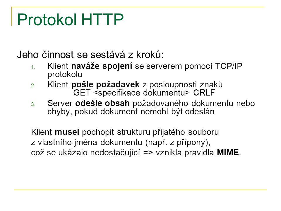 Protokol HTTP Jeho činnost se sestává z kroků: 1. Klient naváže spojení se serverem pomocí TCP/IP protokolu 2. Klient pošle požadavek z posloupnosti z