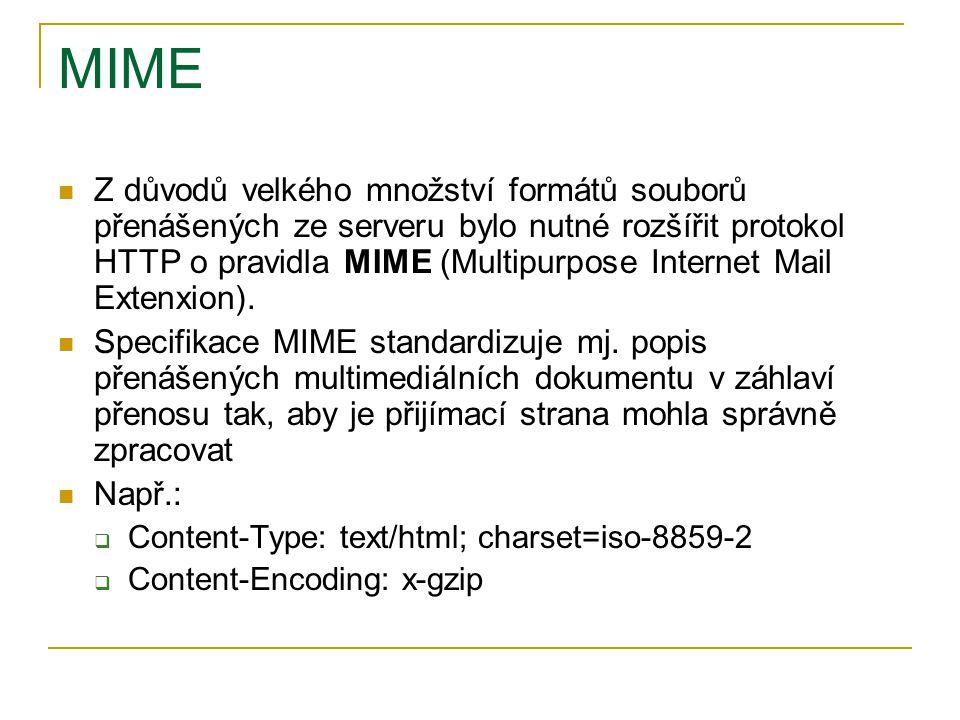 MIME Z důvodů velkého množství formátů souborů přenášených ze serveru bylo nutné rozšířit protokol HTTP o pravidla MIME (Multipurpose Internet Mail Ex