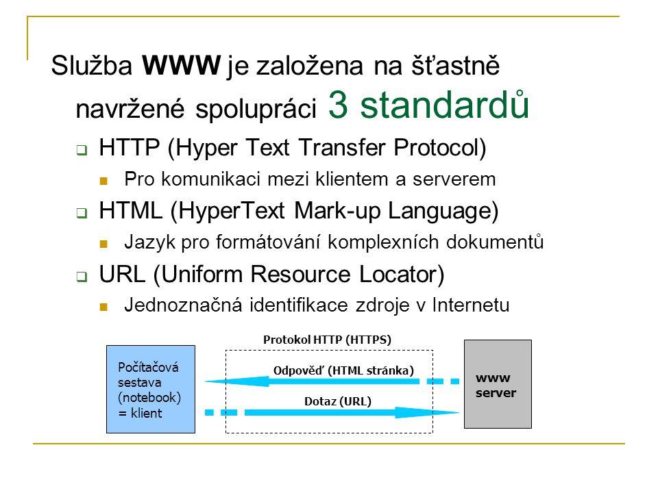 Služba WWW je založena na šťastně navržené spolupráci 3 standardů  HTTP (Hyper Text Transfer Protocol) Pro komunikaci mezi klientem a serverem  HTML